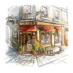 Store Front Cafe Canvas Art Prints, Set of 2
