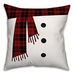 Snowman Scarf and Buttons Pillow