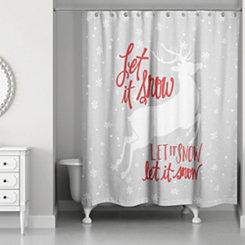 Let It Snow Reindeer Shower Curtain
