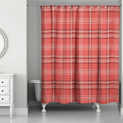 Red Plaid Shower Curtain