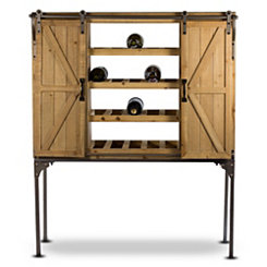 Natural Barn Door Wine Cabinet