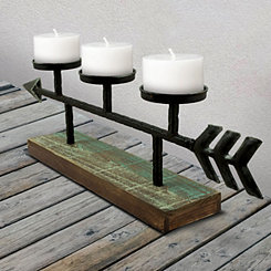 Wood and Metal Arrow Candle Runner