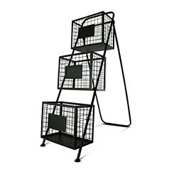 Black Metal Mesh Bins Magazine Rack