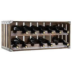 Rustic Wooden Crate Wine Rack