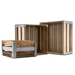 Square Wooden Storage Crates, Set of 3