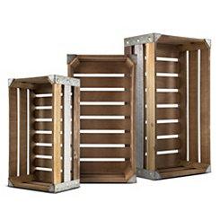 Rectangular Wooden Storage Crates, Set of 3