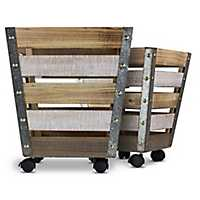 Tapered Wooden Rolling Storage Crates, Set of 2