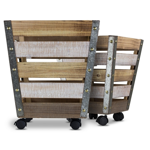 tapered wooden rolling storage crates set of 2 wooden basket