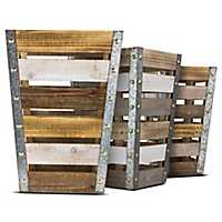 Tapered Wooden Storage Crates, Set of 3
