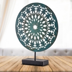Turquoise Medallion with Stand Sculpture