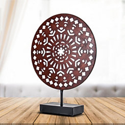 Sienna Medallion with Stand Sculpture