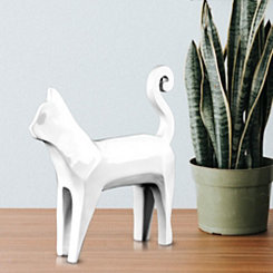 White Abstract Cat Figurine
