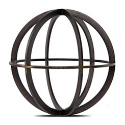 Black and Bronze Metal Sphere Statue, 7.5 in.