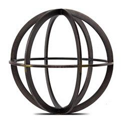 Black and Bronze Metal Sphere Statue, 7.5 in.