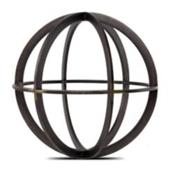Black and Bronze Metal Sphere Statue, 8.5 in.