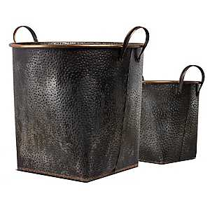 Galvanized Metal Baskets with Handles, Set of 2