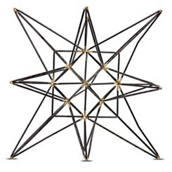 Black and Bronze Metal Star Statue, 8.5 in.