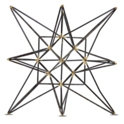 Black and Bronze Metal Star Statue, 7.5 in.
