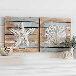 Coastal Icons Wood Plank Wall Plaques, Set of 2
