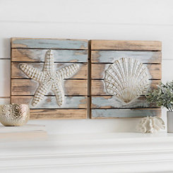 Coastal Icons Wood Plank Wall Plaques, Set of 2