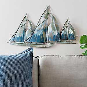 Metal Watercolor Blue Boats Wall Plaque