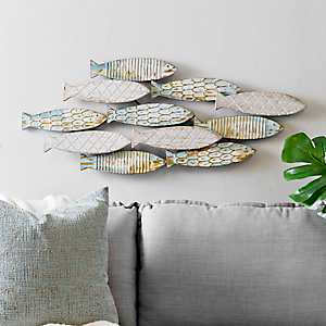 Metal Watercolor School of Fish Wall Plaque