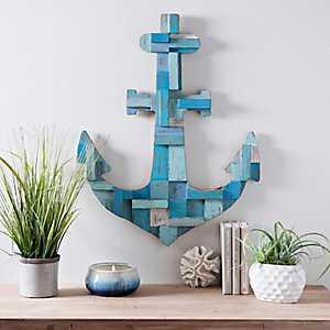 Dimensional Wood Blocks Anchor Wall Plaque