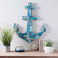 Dimensional Wood Blocks Anchor Wall Plaque