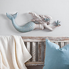 Cast Resin Mermaid Wall Plaque