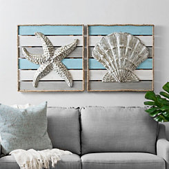 Coastal Rope Wood Plank Wall Plaques, Set of 2