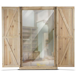 Rustic Wood Shuttered Wall Mirror