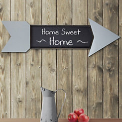 Gray Arrow Wood and Metal Chalkboard