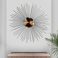 Silver and Red Abstract Metal Sunburst Wall Plaque