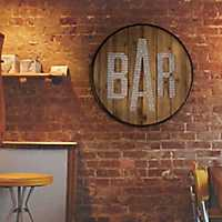 Round Rustic Wood and Galvanized Metal Bar Sign