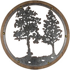 Round Galvanized Metal and Wood Tree Wall Plaque