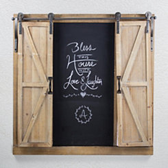 Wood and Metal Sliding Barn Door Chalkboard