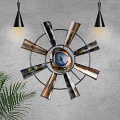 Abstract Metal Windmill Wheel Wall Plaque