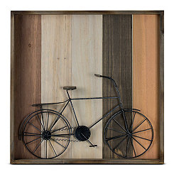 Metal Bicycle on Wooden Shadowbox
