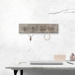 Wood and Metal Silver Leaves Wall Hooks