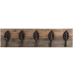 Wood and Metal Rustic Leaves Wall Hook Plaque