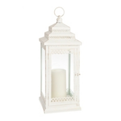 White Metal Tiered Lantern, 21 in.