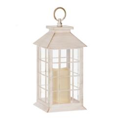 Golden White LED Pillar Candle Lantern