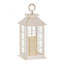 Golden White LED Pillar Candle Lantern