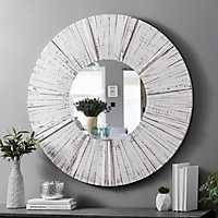 Round Distressed White Wood Plank Wall Mirror