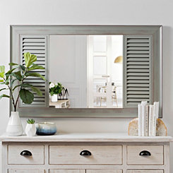 Gray Washed Wood Shutter Wall Mirror