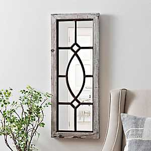 White Distressed Panel Wall Mirror