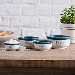 Turquoise Speckled Ceramic Measuring Cups