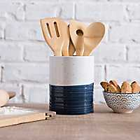 Navy Speckled Ceramic Utensil Holder