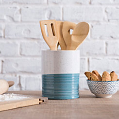 Turquoise Speckled Ceramic Utensil Holder