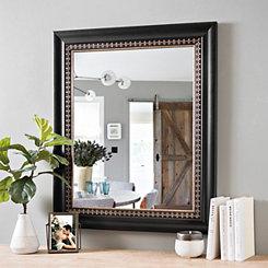 Black & Gold Fleur de Lis Framed Mirror, 22x28
